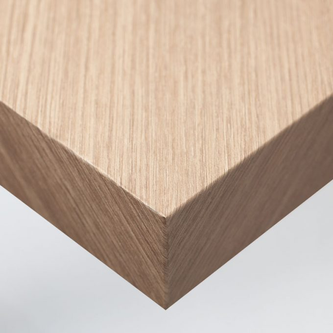 Customized furniture with textured conformable self-adhesive covering Juglans Regia for a walnut tree wood effect