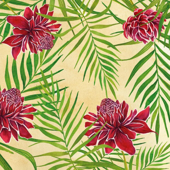 Non-woven wallpaper design Red Blooming to personalize your interiors