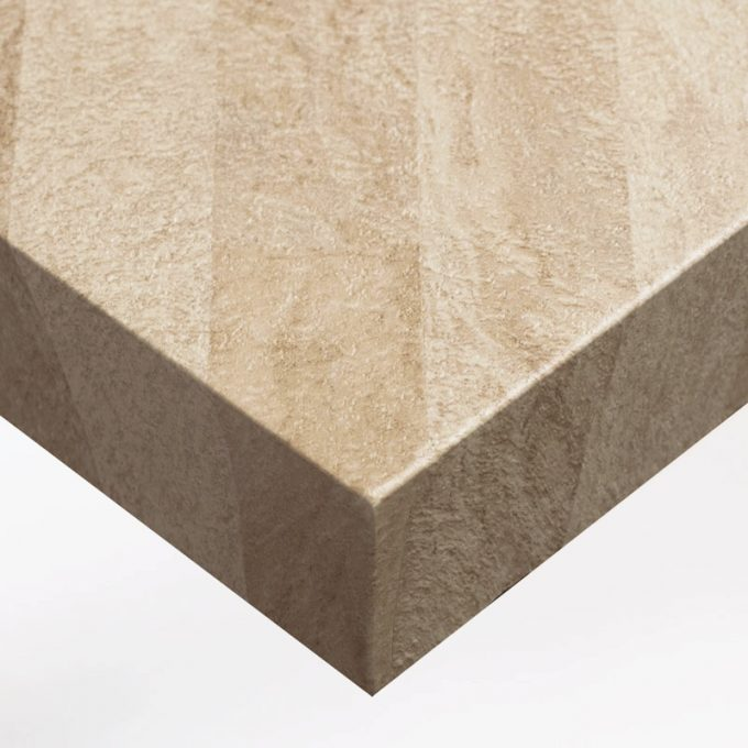 Customized furniture with textured conformable self-adhesive covering Beige Stone for a sandstone effect