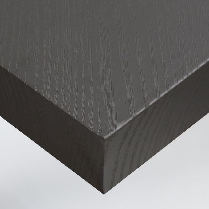 Customized furniture with textured conformable self-adhesive covering Grey Wood for a grey wood effect