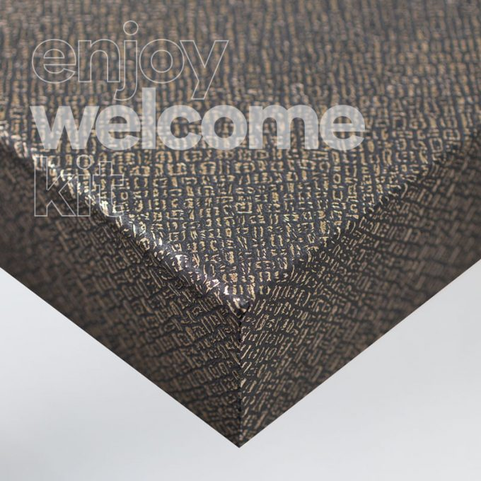 Textured conformable self-adhesive covering Black Gold Leather for your Welcome Kit