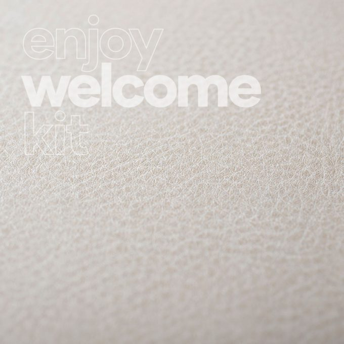 Textured conformable self-adhesive covering Caramel Leather for your Welcome Kit