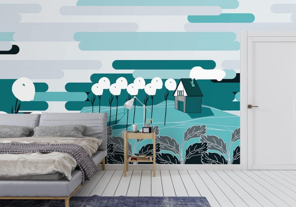 Non-woven wallpaper design Arctic Tundra to personalize your your walls - interior scene