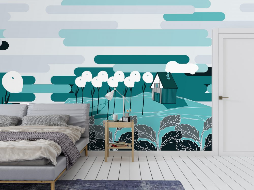 Non-woven wallpaper design Arctic Tundra to personalize your your walls - interior scene