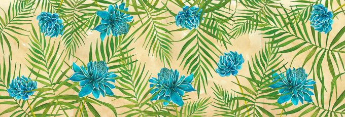Non-woven wallpaper design Sky Blue Blooming to personalize your interiors
