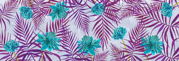 Non-woven wallpaper design Violet Blooming to personalize your interiors