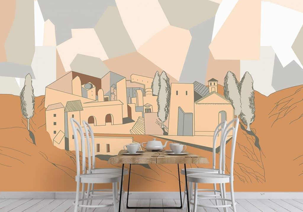 abbinamento colori pareti carta da parati mobili bianchi - Ambientha