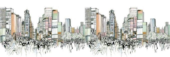 Carta da parati Times Square Portrait by Lauren Wan