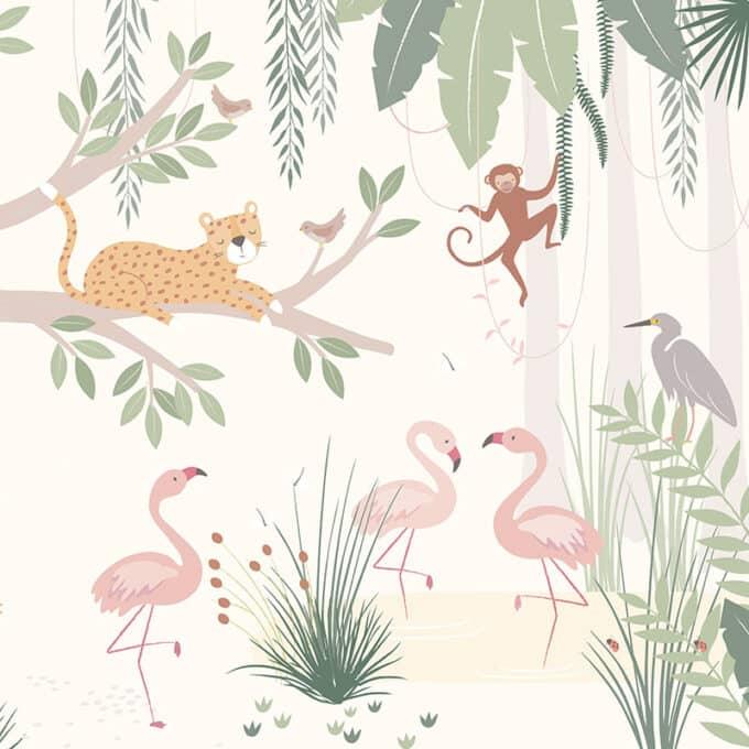 carta da parati giungla bambini ambientha little wild